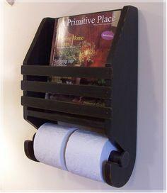 Primitive Magazine Rack Toilet Paper Holder Farmhouse by Sawdusty