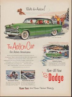 """Description: 1953 DODGE vintage print advertisement """"Coronet -- Model Year 1953""""-- Built for Action! The Action Car for Active Americans ... Road Test this Power Packed Beauty -- Size: The dimensions of the full-page advertisement are approximately 10.5 inches x 14 inches (27cm x 36cm). Condition: This original vintage full-page advertisement is in Very Good Condition unless otherwise noted ()."""