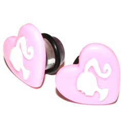 00g (10mm) Pink Dollie Heart Cameo Ear Gauges Plugs Girly Girl Cute... ($18) ❤ liked on Polyvore