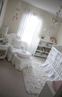 Girl nursery - love the pom pom mobile.. layout for my room ... love the crib too