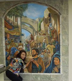 Mural of Pentecost 33CE. (From one of our publications) Painted on canvas, then applied to the wall of a Kingdom Hall. Painting by Louise Moorman.