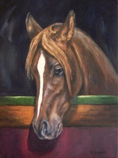 Chosen One- Oil Painting Arabian Horse Art Equine Chestnut Stables Farm, painting by artist Debra Sisson