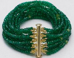 Emerald Green Onyx Multi-Strand Beaded Gemstone Bracelet / Semi-Precious Gem Cuff / 14k Gold Clasp with Briolette Charm