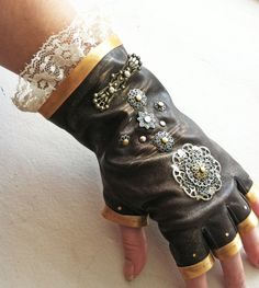 Lacy Leather Steampunk Gloves