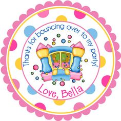 Pastel Bounce House Personalized Stickers  Party Favor by partyINK, $6.00