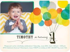 Floating First - Birthday Party Invitations - Hallmark - Bay Green #bday