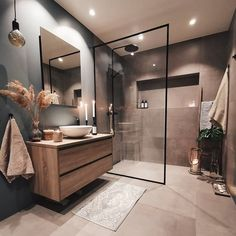 Find here some special colors for bathrooms and see your whole bathroom transform into a great interior design with some simple steps. Bad Inspiration, Bathroom Inspiration, Bathroom Inspo, Bathroom Ideas, Cozy Bathroom, Natural Bathroom, Master Bathroom, Modern Bathroom Design, Bathroom Interior Design