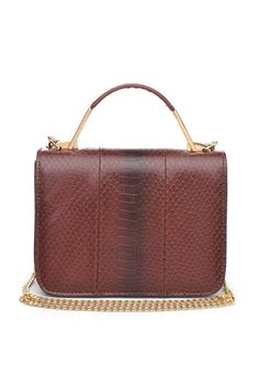 """Sleek, ladylike style is what the """"Kya"""" is all about. This compact, day-to-night design features rich, faux-snakeskin texture and gleaming hardware that really pops. Features a solo top handle and a detachable crossbody chain strap.     8.5""""L x 6 1/2""""H x 2 1/2""""W    Certified Vegan  Kya Crossbody  by Urban Expressions. Bags - Shoulder & Hobo Bags - Cross Body Louisiana"""