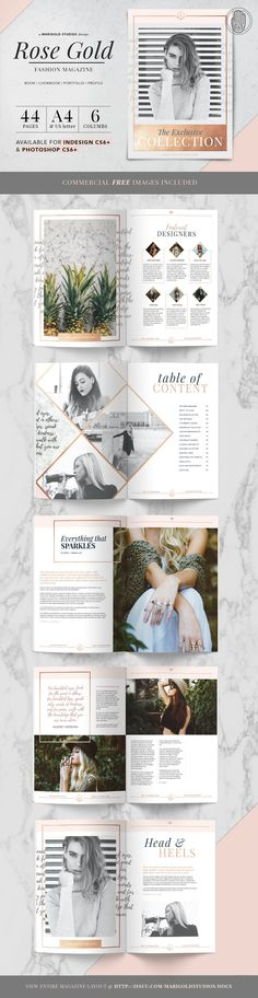 The Rose Gold Theme Magazine is a stylish and fashionable layout that can showcase any business or blog. This template is great for designers, creatives, photographers, businesses, blogs and more and is available in InDesign and Photoshop formats. | ROSE GOLD | Magazine by Marigold Studios on @creativemarket #ad