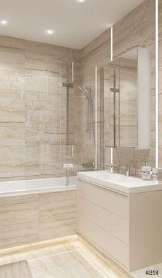 Современная ванная комната | Студия LESH (дизайн ванной, современная, маленькая, ванна, душ, бежевый, светлый, освещение)