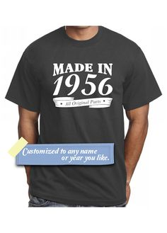 60th Birthday T Shirt Made In 1956 Funny Gift Idea Present Age 60 Years Old Man TShirts Tees Husband Bday