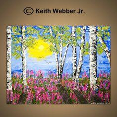 Birch Tree Painting, Lupine Flowers In Spring, Aspen Art, Abstract Palette Knife Impasto. $129.95, via Etsy.