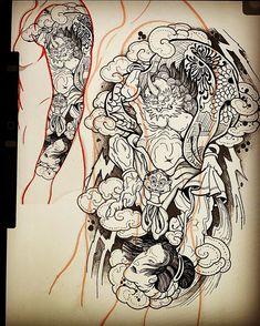 Tattoo Mafia, C Tattoo, Japanese Tattoo Designs, Japanese Design, Japan Tattoo, Irezumi Tattoos, Tattoo Inspiration, Blackwork, Line Art