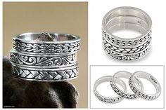 Men's Sterling Silver Stacking Rings (Set of 3) - Three Principles | NOVICA