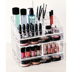 Large Acrylic Makeup Organizer | Container Store. This is one of the best make-up organizer systems I've come across thus far. What I love about it is that, unlike other systems, it's modular & clear (so you can see what's in each level, & you can always rearrange & add as many levels as you please. Brilliant concept! I love mine -- Not only does it keep all of my makeup in a central spot that's easy to access, but it also saves countertop space, since it stacks vertically.