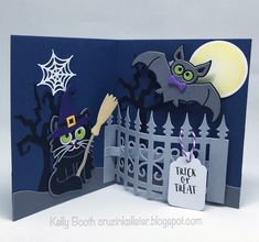 Kelly Booth using the Pop it Ups Iron Fence, Midnight the Bat, Halloween Scene, Whiskers the Cat, Props 9 die sets and Halloween Clear Stamps by Karen Burniston for Elizabeth Craft Designs. - Lovin The Life I Color: Halloween Pop Up Iron Fence....New Dies by Karen Burniston