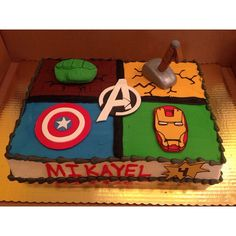 Special order Avengers cake from this past weekend. The client brought in a picture and we replicated it. #avengerscake