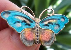 Norwegian Sterling Silver Enamel Butterfly Brooch Hroar Prydz Norway | eBay