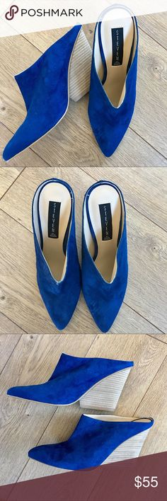 NWOT STEVEN Merciie Blue Suede Slip On Mules - 8.5 New without tags Steven by Steve Madden Merciie Blue Suede Mules.  Stacked heel. Leather upper. Excellent condition, no issues. Smoke free home. Steven By Steve Madden Shoes Mules & Clogs