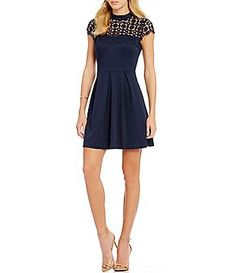 B Darlin Bow Mock Neckline Skater Dress Neckline Bows