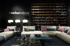 Modular tanned leather sofa OCTET by ROCHE BOBOIS design Maurizio Manzoni, Roberto Tapinassi