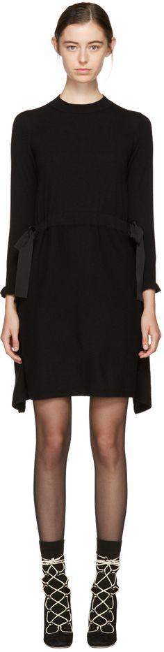 Fendi Black Cashmere Cascade Dress