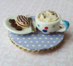Cake and coffee fridge magnet, kitchen magnet, refrigerator magnet, miniature food, stocking stuffer by MagentaMinis on Etsy