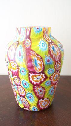 Murano Glass Millefiori Venetian Vase 1930's Multi Vibrant Color