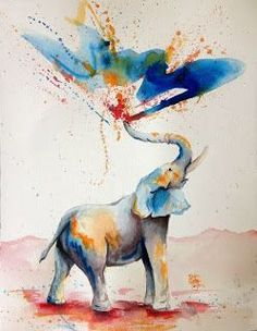 elephant, love, watercolour elephant, elephant painting elephant trunk
