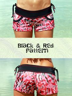 MG Surf Line's shorts are the perfect addition to your bikini.  They are perfect for watersports, yoga and going for a run on the beach.  Like our bikini bottoms the shorts come with adjustable pieces on each side of the hip so you can tie them tight and be confident that they will stay on.  Featured in this photo is the Escondida shorts in the black & red color pattern.  #MGsurfline #BoardShorts #ActiveWear