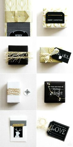 black, white and gold.  festive gift wrap.  #christmas