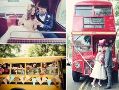 Limos are old news. Wedding buses are in. Vintage Wedding Theme, Wedding Car, Wedding Sets, Diy Wedding, Dream Wedding, 50s Wedding Styles, Village Fete, Wedding Transportation, Outside Wedding
