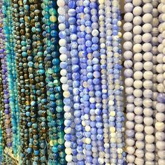 Colorful blue bead strands