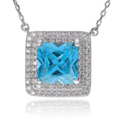 Journee Collection Sterling Cubic Zirconia Square Pendant