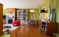 San Francisco Mid-Century by Janel Holiday Interior Design. Love the green walls!