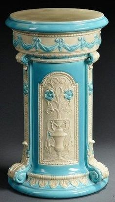 Wedgwood; Majolica Pottery, Pedestal, Flowering Urn Panels & Swag, Turquoise, 20 inch.