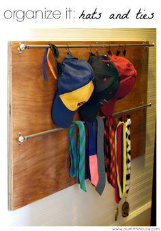 organize it: baseball hats and tie storage