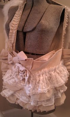 This is so cute!! burlap and lace!