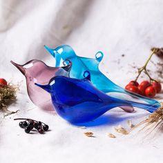 Set of Glass Birds Decorations  Christmas by WhiteGiraffesGifts, $14.85