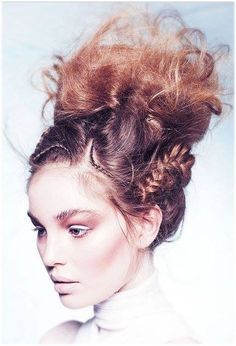 cool messy topknot with side braiding #faerie