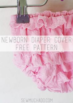 Sew a Newborn Ruffle Fabric Diaper Cover with this free pattern!  Download contains pattern pieces only. For pattern instructions, please visit this post:  Newborn Ruffle Fabric Diaper Cover Free Pattern Instructions