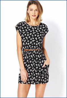 creampink ditsy-floral-fit-flare-dress