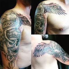 "Sabrina ⚡Kiss Ink ⚡Tatoueuse on Instagram: ""⚚ Pour Elian ! Merci mon copain 😊 by @kissink, te voilà paré ! . . #tatouage #tatouageevreux #evreux #tattoo #normandietattoo #tatoueuse…"" Hermes Tattoo, Tribal Tattoos, Sleeve Tattoos, Instagram, Ideas, Thanks, Tattoo Art, Tattoo Sleeves, Thoughts"