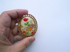 Painted Flora lll . big brooch by june22 on Etsy