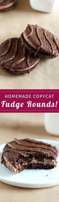 Homemade Fudge Rounds taste just like the packaged ones but even BETTER because they're less artificial but just as chewy, fudgy, soft, and chocolaty. Cookie Desserts, Chocolate Desserts, Just Desserts, Chocolate Chip Cookies, Cookie Recipes, Delicious Desserts, Yummy Food, Chocolate Fudge, Dessert Recipes