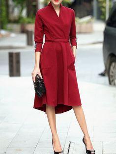 Shop Midi dresses - Burgundy V Neck 3/4 Sleeve A-line Embroidered Midi Dress online. Discover unique designers fashion at StyleWe.com. #mididress