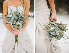 Like the wildflowers mixed in...variety of texture....eucalyptus,baby's breath etc.----good option for bridesmaids perhaps with flowers mixed in