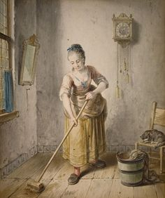 Willem Joseph Laquy, YOUNG WOMAN CLEANING THE FLOOR, 1778
