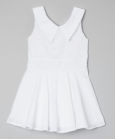 Kalliope White Eyelet Collar Dress - Toddler & Girls on zulily