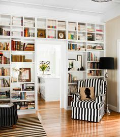 Love all the book shelves.